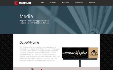 Screenshot of Press Page magnummark.com - Magnum Integrated Marketing | Services | Media - captured Oct. 2, 2018