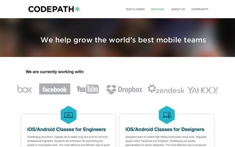 Screenshot of Services Page codepath.com - Services | CodePath - captured Dec. 17, 2014