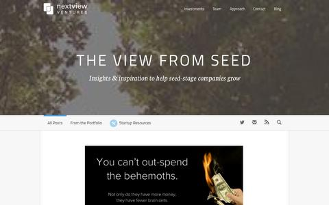 Screenshot of Blog nextviewventures.com - Home » The View From Seed | NextView Venture - captured Sept. 19, 2014