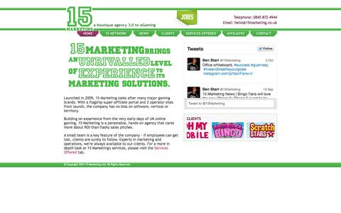 Screenshot of Home Page 15marketing.co.uk - 15 Marketing | Online Gaming Marketing Agency | London - captured Oct. 6, 2014