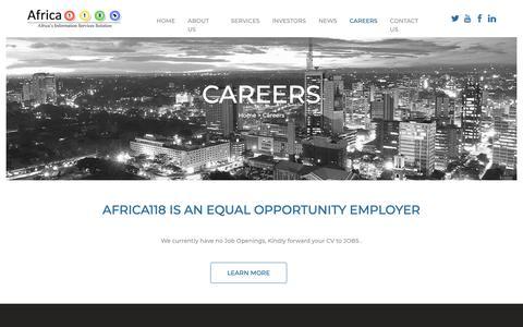 Screenshot of Jobs Page africa118.com - Infomoby - Africa118 - Careers - captured Oct. 3, 2018