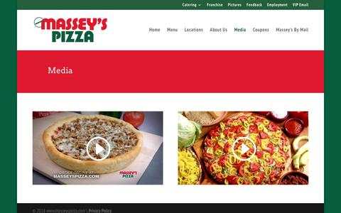 Screenshot of Press Page masseyspizza.com - Media - Massey's Pizza - captured Sept. 20, 2018