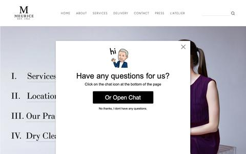 Screenshot of Home Page garmentcare.com - Meurice Garment Care - Upscale Dry Cleaning Since 1961   NYC - captured Oct. 18, 2018