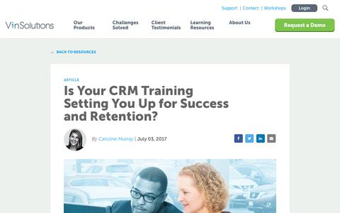Screenshot of Blog vinsolutions.com - VinSolutions - Is Your CRM Training Setting You Up for Success? - captured Dec. 3, 2019