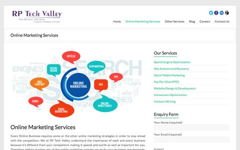 Screenshot of Services Page rptechvalley.com - Online & Internet Marketing Company Providing Solutions for Business - captured Jan. 10, 2016