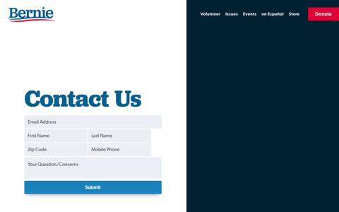 Screenshot of Contact Page berniesanders.com - Contact Us - Bernie Sanders - captured July 17, 2019