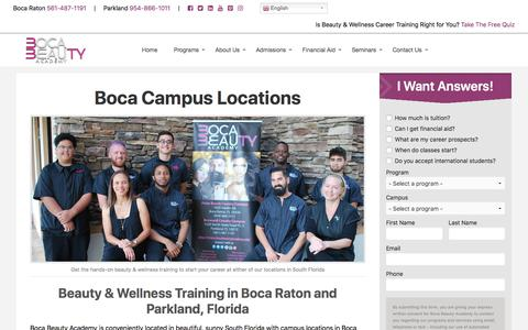 Screenshot of Locations Page bocabeautyacademy.edu - Locations - Boca Beauty Academy - captured Sept. 13, 2019