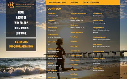 Screenshot of Team Page hannahsolar.com - Our Team - Hannah Solar - captured Feb. 3, 2016
