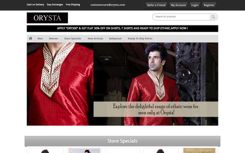 Screenshot of Home Page orysta.com - Online Clothes Shopping In India For Women & Men, Shop Online: Orysta - captured Sept. 19, 2014