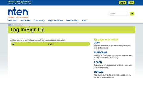 Screenshot of Login Page nten.org - Log In/Sign Up | NTEN - captured Oct. 7, 2019
