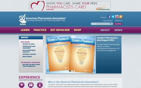 Screenshot of About Page pharmacist.com - | American Pharmacists Association - captured Sept. 23, 2014