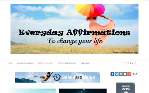 Screenshot of Home Page everydayaffirmations.org - Everyday Affirmations - captured Aug. 23, 2016