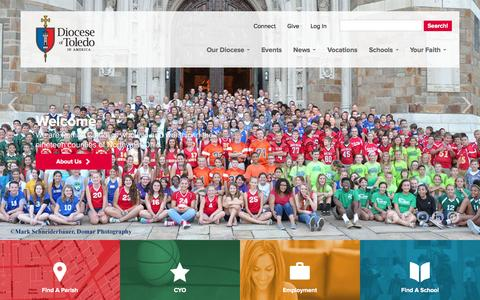 Screenshot of Home Page toledodiocese.org - The Catholic Diocese of Toledo - captured Oct. 2, 2014