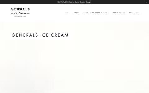 Screenshot of Home Page generalsicecream.com - Generals Ice Cream - captured Sept. 29, 2014