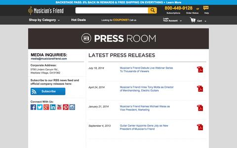 Screenshot of Press Page musiciansfriend.com captured Aug. 19, 2016