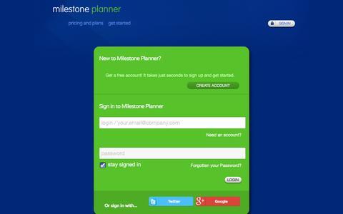 Screenshot of Login Page milestoneplanner.com - Milestone Planner : Sign in - captured Oct. 31, 2014