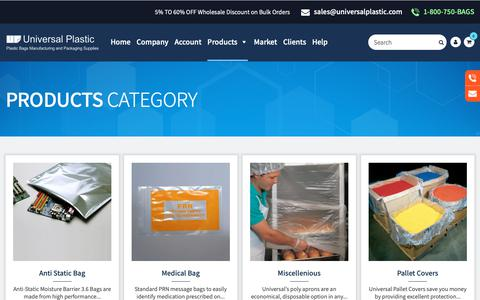 Screenshot of Products Page universalplastic.com - Our Products | Custom Printed Bags | Plastic Bags Products | Universal Plastic Bags - captured Oct. 20, 2018
