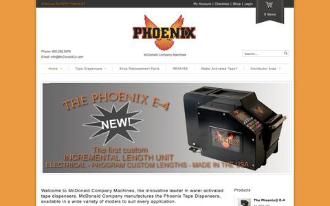 Screenshot of Home Page phoenixtapers.com - Phoenix Tapers | McDonald Company Machines - captured Sept. 6, 2015