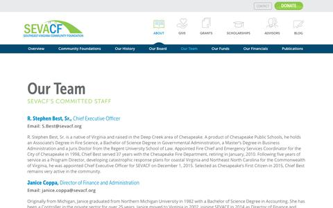 Screenshot of Team Page sevacf.org - Our Team - Southeast Virginia Community Foundation - captured Oct. 23, 2017