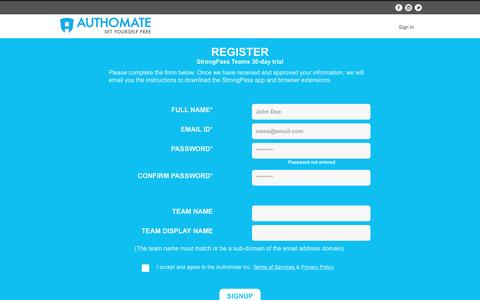 Screenshot of Signup Page authomate.com - Authomate - captured Nov. 21, 2016