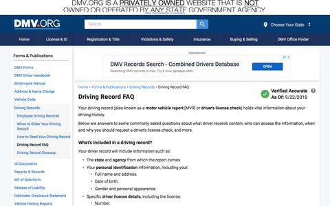 Screenshot of FAQ Page dmv.org - Driving Record FAQ | DMV.ORG - captured Sept. 22, 2018