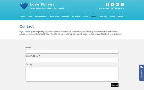 Screenshot of Contact Page love-stives.co.uk - Contact Love St Ives - captured Oct. 18, 2018