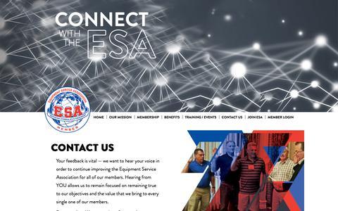 Screenshot of Contact Page 2esa.org - Contact Equipment Service Association - Equipment Service Association - captured Oct. 24, 2018