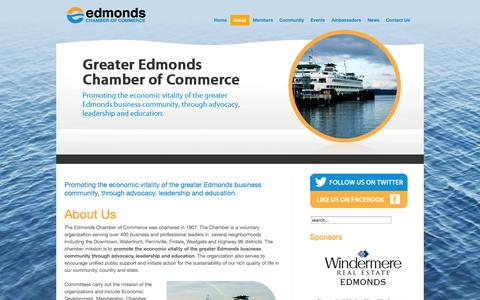 Screenshot of About Page edmondswa.com - About Us - captured Oct. 2, 2014