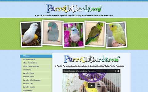 Screenshot of Home Page parrotletbirds.com - Parrotlet Breeders | Parrotlets & Breeding Pairs - captured Oct. 1, 2014
