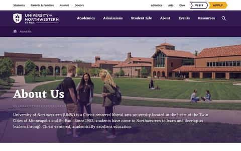 Screenshot of About Page unwsp.edu - University of Northwestern, St. Paul | Learn More About What… - captured July 14, 2019