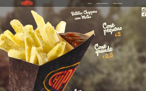 Screenshot of Menu Page chippers.pt - Chippers - captured Sept. 29, 2014