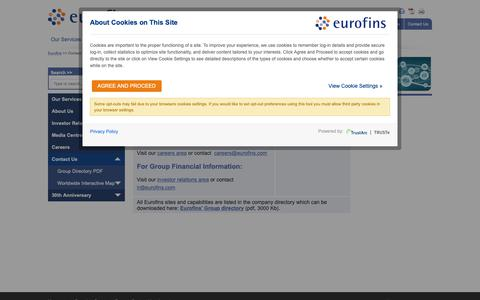 Screenshot of Contact Page eurofins.com - Contact Eurofins Scientific - Eurofins Scientific - captured Oct. 21, 2018