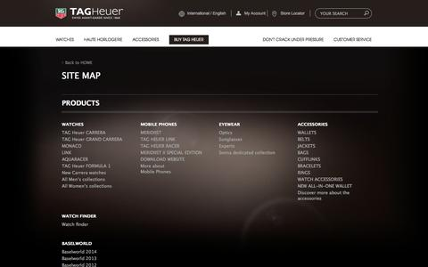 Screenshot of Site Map Page tagheuer.com - Site Map | TAG Heuer - captured Oct. 27, 2014