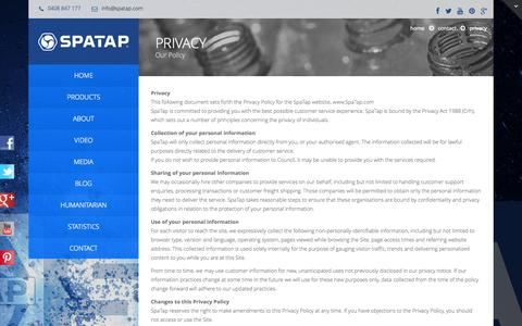Screenshot of Privacy Page spatap.com - Privacy - SpaTap - The World's First Pocket Shower SpaTap – The World's First Pocket Shower - captured Sept. 30, 2014