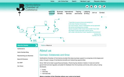 Screenshot of About Page hertschamber.com - About the Chamber of Commerce - captured Oct. 2, 2014