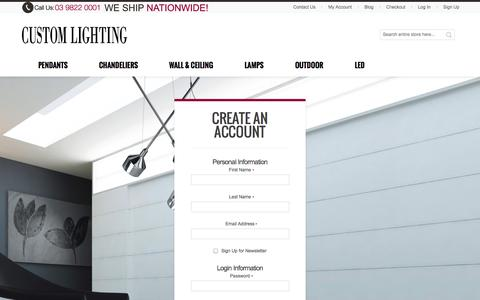 Screenshot of Signup Page customlighting.com.au - Create New Customer Account - captured Sept. 26, 2014