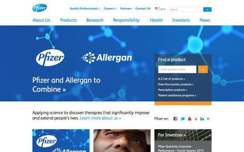 Screenshot of Home Page pfizer.com - Pfizer: One of the world's premier biopharmaceutical companies - captured Jan. 3, 2016