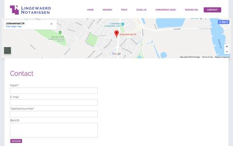 Screenshot of Contact Page lingewaerdnotarissen.nl - Contact - Lingewaerd Notarissen - captured July 20, 2018