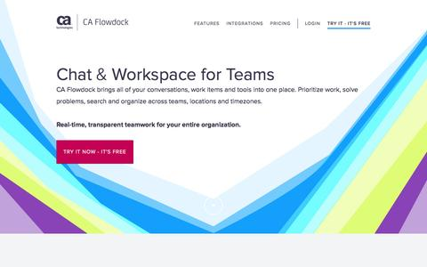 Screenshot of Home Page flowdock.com - Flowdock: Group chat for teams. Integrates with GitHub, Jira, Trello. - captured May 31, 2017