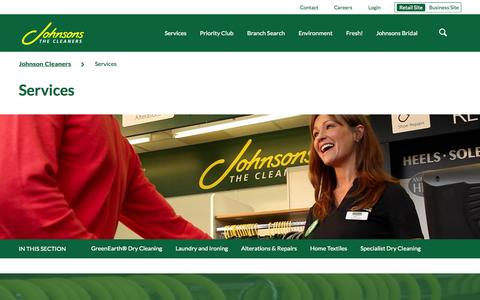 Screenshot of Services Page johnsoncleaners.com - Services | Johnson Cleaners - captured Oct. 2, 2015