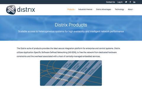 Screenshot of Products Page distrix.com - Distrix Products - Distrix - captured Feb. 9, 2016
