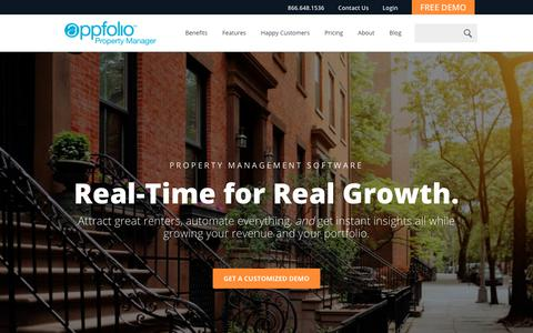Screenshot of Home Page appfolio.com - Property Management Software | AppFolio - captured Jan. 20, 2018