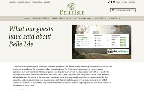 Screenshot of Testimonials Page belle-isle.com - Testimonials - Guest comments for Belle Isle Cottages and Castle rooms — Belle Isle Estate - captured Nov. 22, 2016