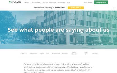 Screenshot of Developers Page Testimonials Page vendasta.com - Testimonials   Vendasta - captured Nov. 13, 2016