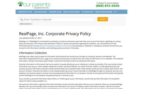 Screenshot of Privacy Page ourparents.com - OurParents - Nursing Homes, Senior Care Providers & Assisted Living - captured Dec. 1, 2015