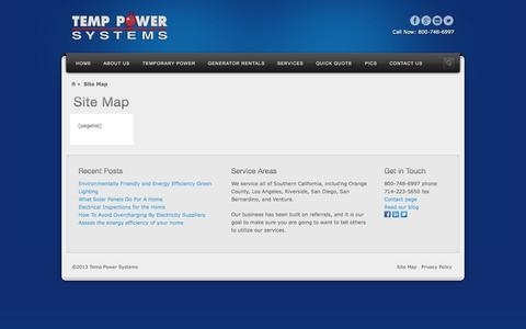 Screenshot of Site Map Page temppower.com - Site Map | Temp Power | Generators - captured Oct. 7, 2014
