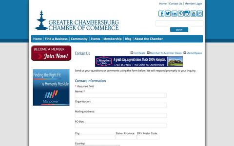 Screenshot of Contact Page chambersburg.org - Contact Us - Chamber - Greater Chambersburg Chamber of Commerce - captured Oct. 3, 2014