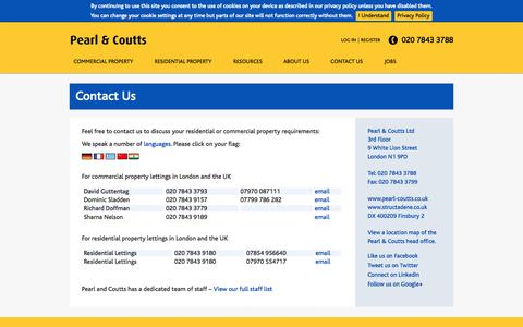 Screenshot of Contact Page pearl-coutts.co.uk - Commercial property agent London UK - captured Oct. 2, 2014