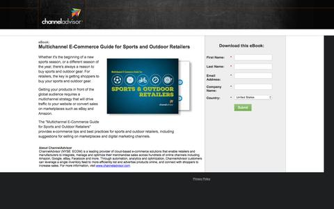 Screenshot of Landing Page channeladvisor.com - Multichannel E-Commerce Guide for Sports and Outdoor Retailers - captured March 22, 2016