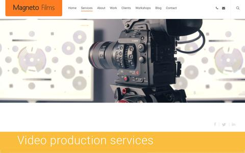 Screenshot of Services Page magnetofilms.co.uk - Video production services - Magneto Films video production services - captured Oct. 1, 2018